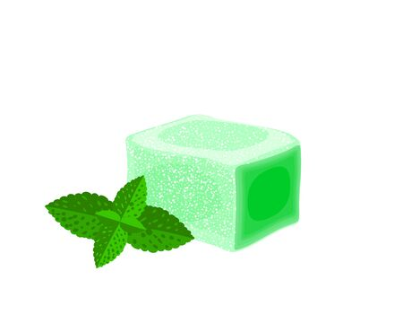 Turkish delight, lokum. Traditional oriental sweet candy with mint. Vector illustration cartoon icon isolated on white.