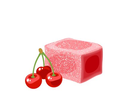 Turkish delight, lokum. Traditional oriental sweet candy with cherry. Vector illustration cartoon icon isolated on white.