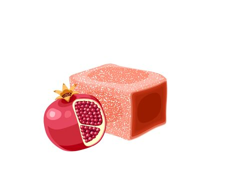 Turkish delight, lokum. Traditional oriental sweet candy with pomegranate. Vector illustration cartoon icon isolated on white.