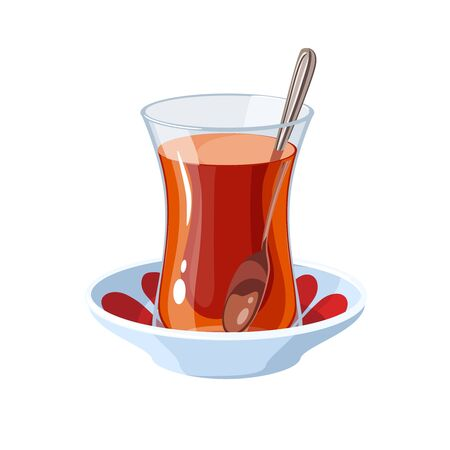 A glass of traditional Turkish tea with a teaspoon on a saucer. Vector illustration flat cartoon icon isolated on white. Vecteurs
