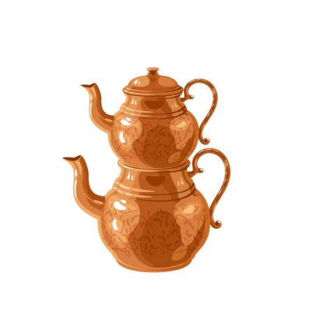 Traditional Turkish two-tier copper teapot kettle. Vector illustration cartoon flat icon isolated on white.