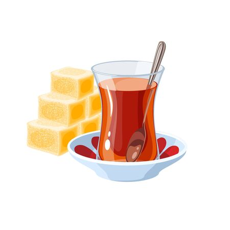 Turkish delight and traditional glass of tea. Vector illustration flat cartoon icon isolated on white. Иллюстрация