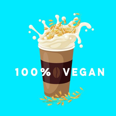 Dairy-free vegan coffee to go with oat milk. Vector illustration cartoon flat icon isolated on white. Иллюстрация