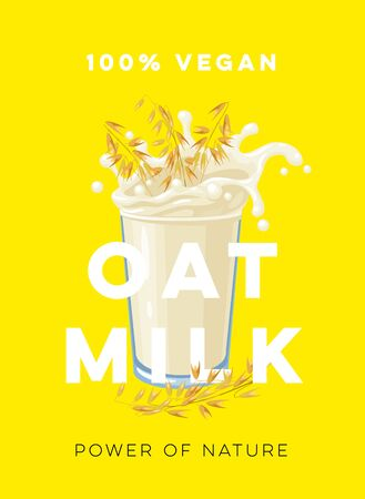 Dairy-free vegan oat milk, template for packaging label design. Vector illustration cartoon flat icon isolated on yellow.