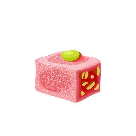 Turkish delight, lokum. Traditional oriental sweet candy with pistachio. Vector illustration cartoon icon isolated on white.