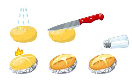 Stages of cooking baked potatoes, from washing tubers to salting ready dish, vector flat cartoon icon illustration set isolated on white.