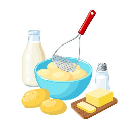 Making mashed potatoes: masher and bowl of potato tubers, milk bottle, butter and salt. Vector illustration cartoon flat icon isolated on white background.