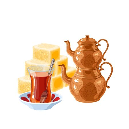 Turkish delight and tea. Traditional two-tier copper teapot kettle and glass of tea. Vector illustration cartoon flat icon isolated on white.