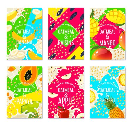 Set of packaging label design templates for granola bar, oatmeal cereal with fruits. Colorful vector cartoon illustration.