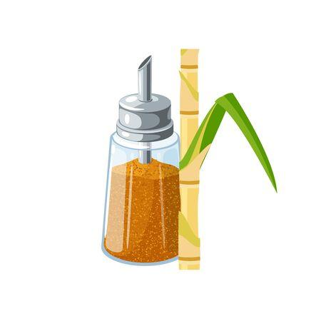 Sugar bowl and sugarcane stem. Vector illustration flat cartoon icon isolated on white background. Иллюстрация