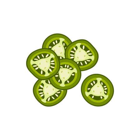 Hamburger ingredient. Sliced jalapeno pepper. Vector illustration cartoon flat icon isolated on white. Иллюстрация