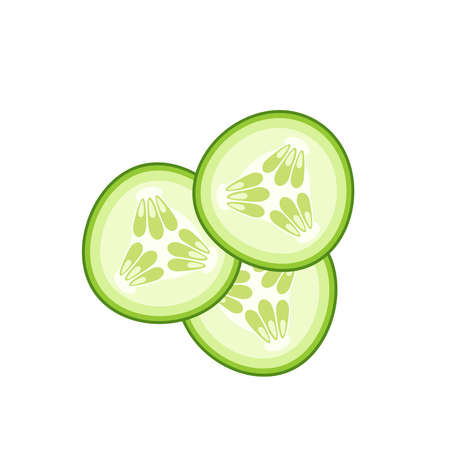 Hamburger ingredient. Sliced cucumber. Vector illustration cartoon flat icon isolated on white. Иллюстрация