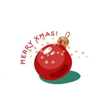 Xmas ball. Merry christmas greeting card. Vector illustration flat cartoon icon isolated on white background. Иллюстрация