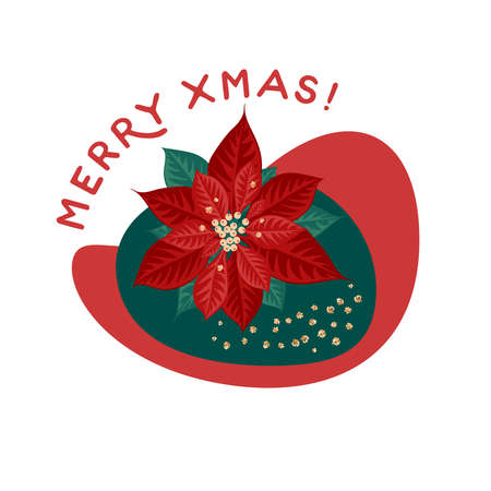 Christmas star. Merry xmas greeting card. Vector illustration flat cartoon icon isolated on white background.