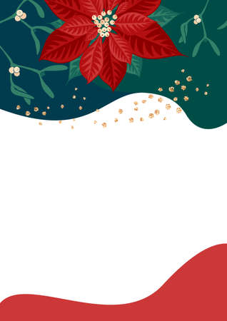 Poinsettia flower and mistletoe branch with berries on color background. Template for christmas greeting card, party invitation design. Vector illustration flat cartoon isolated icon.