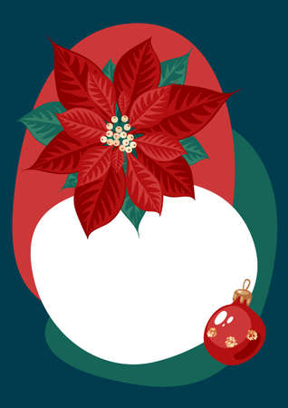 Poinsettia flower and xmas ball on color background. Template for christmas greeting card, party invitation design. Vector illustration flat cartoon isolated icon.