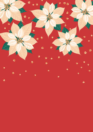 Poinsettia flowers on red background. Template for christmas greeting card, party invitation design. Vector illustration flat cartoon isolated icon. Иллюстрация
