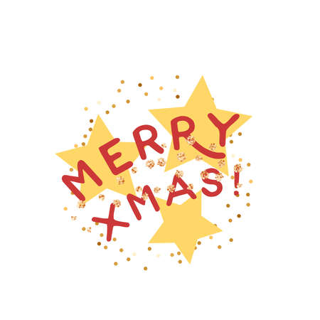 Merry xmas greeting card. Vector illustration flat cartoon icon isolated on white background.