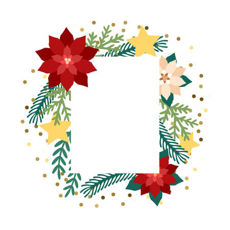 Frame poinsettia flower, stars and firtree branches. Template for christmas greeting card, party invitation design. Vector illustration flat cartoon. Иллюстрация
