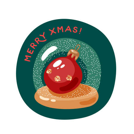 Xmas ball in snow globe. Merry christmas greeting card. Vector illustration flat cartoon icon isolated on white background.