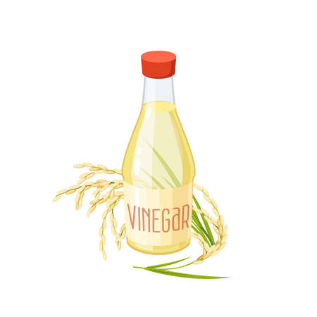 Bottle of rice vinegar. Vector illustration cartoon flat icon isolated on white.