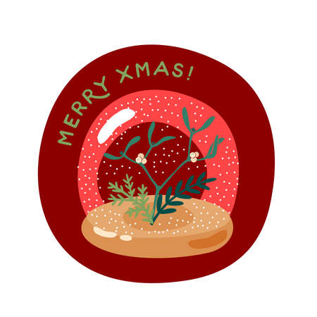 Mistletoe branch with berries in snow globe. Merry christmas greeting card. Vector illustration flat cartoon icon isolated on white background.