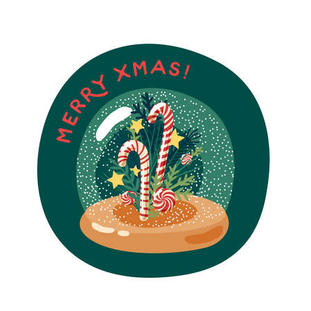 Xmas candy cane in snow globe. Merry christmas greeting card. Vector illustration flat cartoon icon isolated on white background. Иллюстрация