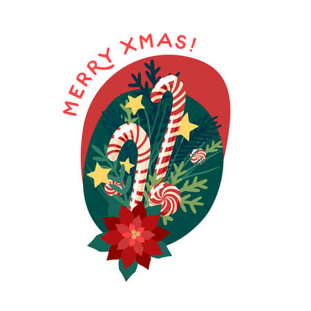Merry christmas greeting card with candy cane. Vector illustration flat cartoon icon isolated on white background.