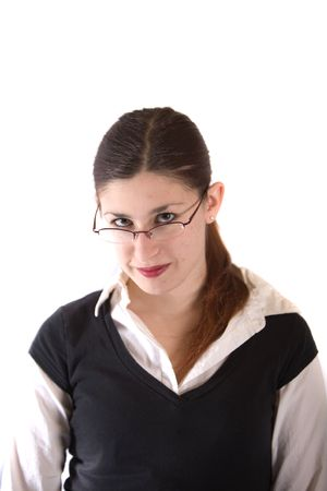 a sexy young businesswoman looking at the camera Stock Photo