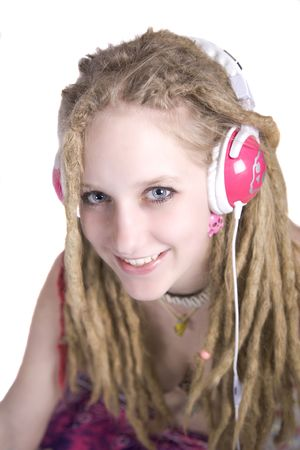 a gorgeous blonde girl listening to music Stock Photo