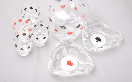 a set of shot glasses with pattern of cards Stock Photo - 2789620