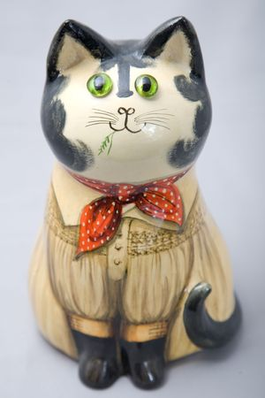 a cute wooden decoration cat