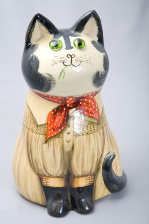 a cute wooden decoration cat