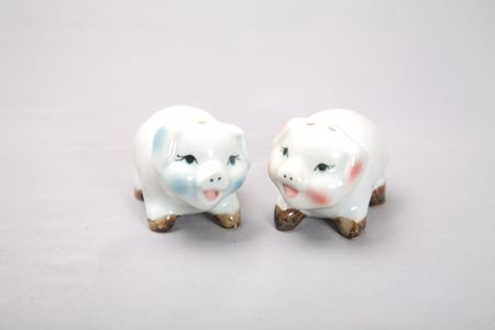 two cute decoration pigs