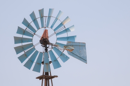 windturbine: Old wind-turbine used for water pumping Stock Photo