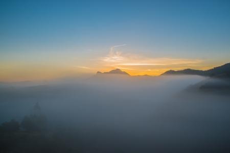faintly visible: Sunrise in the mountains near Rio de Janeiro, Brazil
