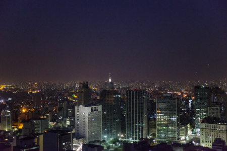 Sao Paulo biggest city in South-America at night