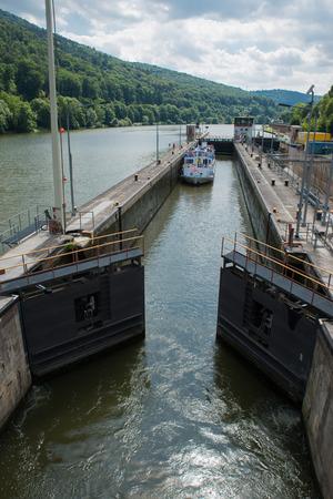 sluice: Ship sluice at the Neckar river in Germany near Heidelberg Stock Photo