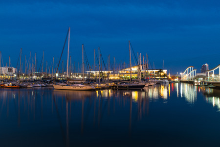 nightview: Nightview of the harbor in Barcelona