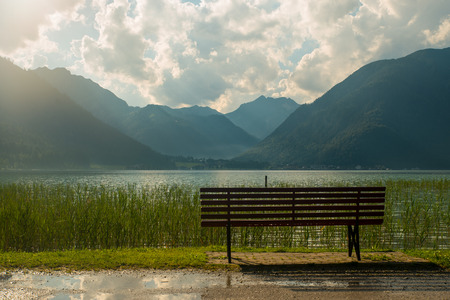 View of the nice Achensee in the Tyrolean alps Stock Photo