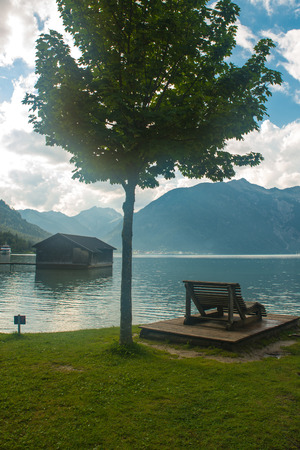 View of the nice Achensee in the Tyrolean alps Standard-Bild