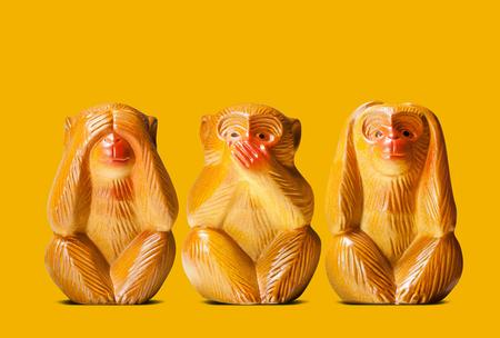 dolls of three wise monkeys 免版税图像