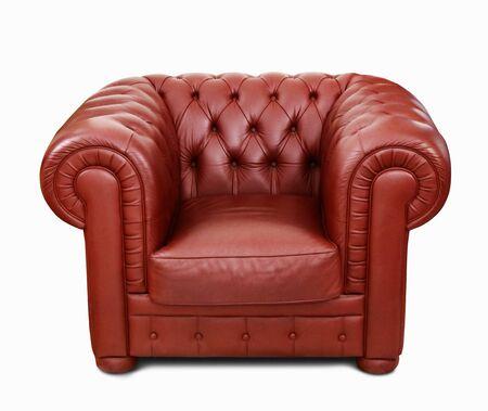 Red leather sofa 免版税图像