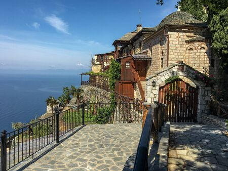 A small church in the Byzantine style on Mount Athos 版權商用圖片