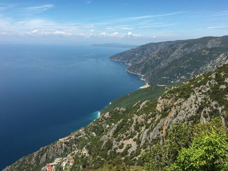 Mount Athos, view of the mountain and the sea from the top