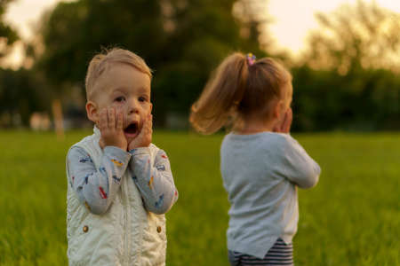 infancy, childhood, development, autumn mood, medicine and health concept - two small children boy and girl of same age, demonstrate emotions of fear and surprise on green meadow in park at sunset.