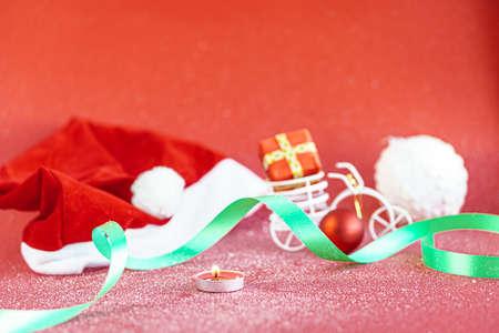 Santa Claus minimal concept. Christmas New Year flat lay. Standard-Bild