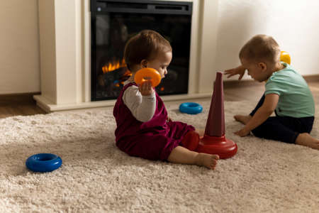 family, friends, friendship, childhood, development, skills, motility games - little authentic children toddler kids puts rings on pyramid playing together with toy sit on floor indoors at cozy home