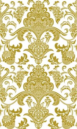 floral pattern motif: Damask Illustration