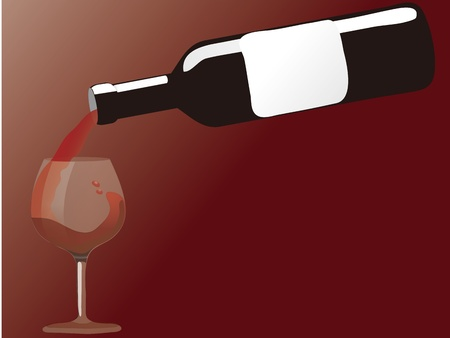 red wine pouring: red wine pouring down from a wine bottle Illustration